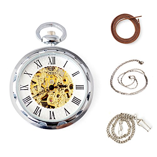 Silver Open Face Watch - BoShiYa Vintage Skeleton Mechanical Pocket Watches with Chain