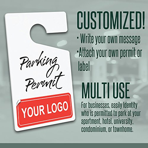 """MESS Parking Permit Hang Tag Pass DIY Blank White Customizable Car Permits for Vehicles/Rear View Mirror Pass (10-Pack) 3"""" x 5"""" by MESS (Image #4)"""