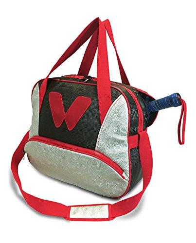 idawen Tennis Tasche BOUZA Vintage, rot, schwarz und Brokat