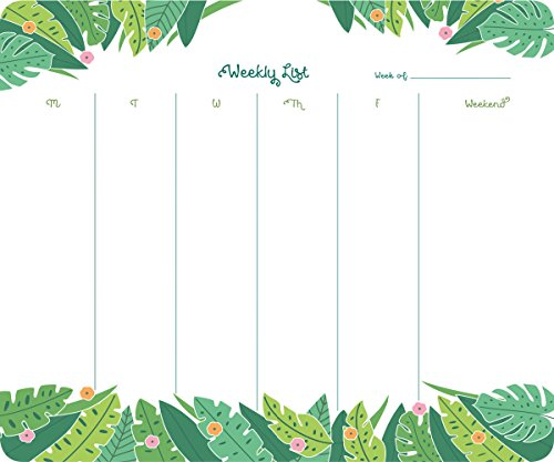 High Note Jungle Pattern Weekly To-do Pad (w/Magnet): Handy Non-Dated Weekly Tear Off Sheets Featuring Unique, Original, Designer Art by Elizabeth Olwen (CHT0311)