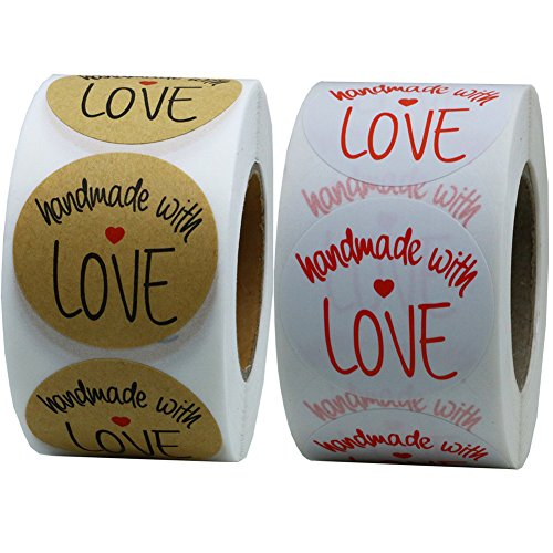 Hybsk(TM) 1.5 Inch Round Handmade With Love Stickers with Black Font Kraft Paper+White Paper Total 2 Rolls