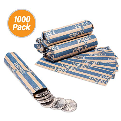 1000 Flat Coin Wrappers, Nickels Coins Holder, Convenient Nickel Storage Coin Wrapper – 1000 Pack