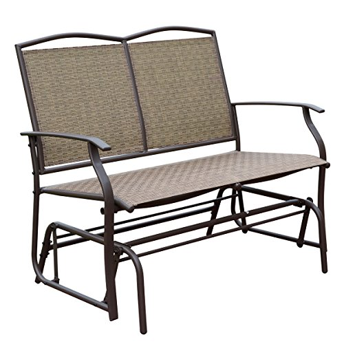 HollyHOME Patio Swing Glider Bench for 2 person, Garden Chair Rocking Loveseat, All Weatherproof, (Patio Glider Bench)