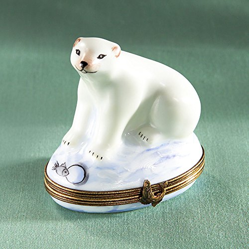 Authentic French Hand Painted Limoges Porcelain Polar Bear in Ice Box