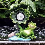 LOVEPET Outdoor Solar Light Glass Steel Sculpture Garden Frog Ornaments Garden Villa Landscape Decoration Crafts 19X16X26cm