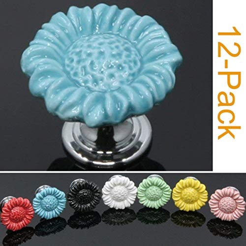 Sunkni 37mm 12 Pack Flower Knobs for Dresser Drawers Kitchen Cabinets Cupboard Wardrobe Furniture Ceramic Door Knobs and Pulls Floral Drawer Knobs for Girls Kids (Sunflower, Blue)