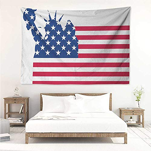 alisos New York,Wall Decor Tapestry Statue of Liberty Flag Silhouette Universal Symbol of Democracy Illustration 93W x 70L Inch Tapestry Wallpaper Home Decor Blue Red White ()