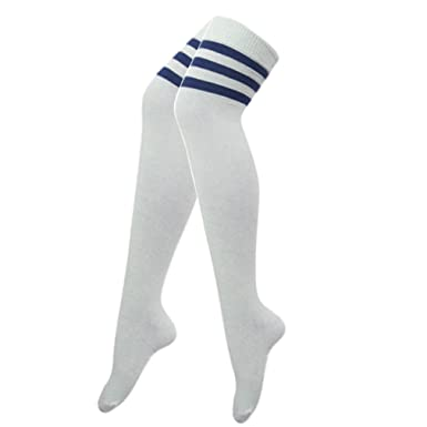 2141c497a70 Ladies Womens 118 Referee Football Stripe Over the Knee High Sport Fancy  Dress Long Socks (Blue Stripes)  Amazon.co.uk  Clothing
