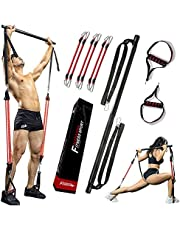 (Amazon's local Ship) Pilates Bar Kit, Muscle Tension Bar, Adjustable Length and Resistance Bands Portable Home Gym Pilates Bar, Full Body Workout Equipment Training Kit