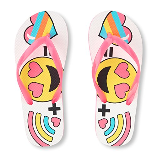 The Children's Place Girls' Emoji Flip Flop Flat Sandal, Pink, Youth 3-4 Medium US Big Kid