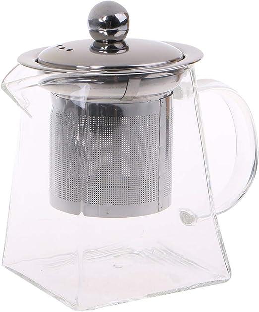 Lazder - Tetera de cristal resistente al calor con filtro de acero ...