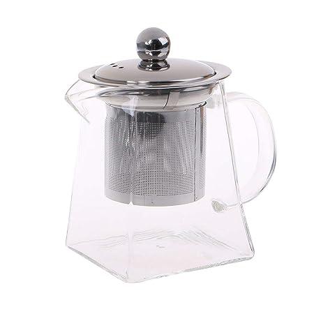 Lazder - Tetera de cristal resistente al calor con filtro de ...