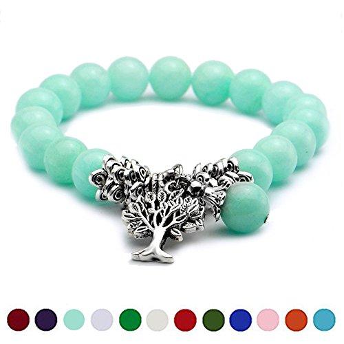 March Aquamarine Birthstone Bead Bracelet, Cat Eye Jewels Tree of Life Tibetan Silver Charm Pendant Stretch Wristband Bangle Bracelets for Women Men (Cat Eye Green Bracelet)