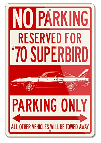 Legend Lines Plymouth Road Runner Superbird 1970 Coupe Reserved Parking Only Aluminum Sign (Large)