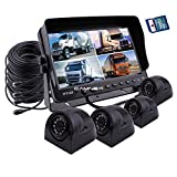 Camnex Car Backup Camera Safety System 9'' Monitor Build-in DVR recorder with Quad Split Screen Rear View Camera System Kit Sony CCD Colour Side View Camera for Truck Van Caravan Trailers Camper Bus RV