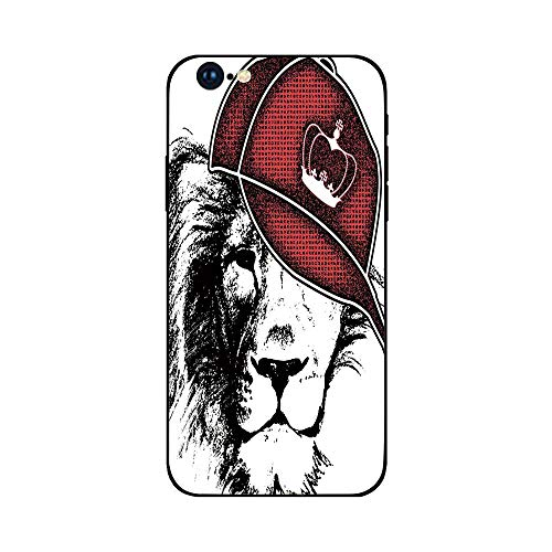 Phone Case Compatible with iphone6 Plus iphone6s Plus mobilephoneprotectingshell Brandnew Tempered Glass Backplane,Black and White,Hipster Leon with Sports Hat and Digital Grunge Effects African Ki