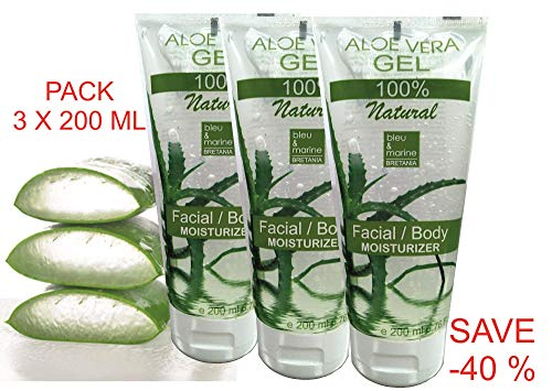 100% Natural Gel de Aloe Vera (Pack 200 ml x 3) - Acondicionador - Después del Sol/de Afeitarse: Amazon.es: Belleza