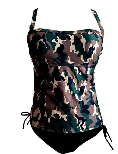 a9379e13e6a WWQY Women's Halter TankiniCutout Cross Plus Size Camouflage Casual Bikini  , m. Camouflage Plus Size Swimwear ...