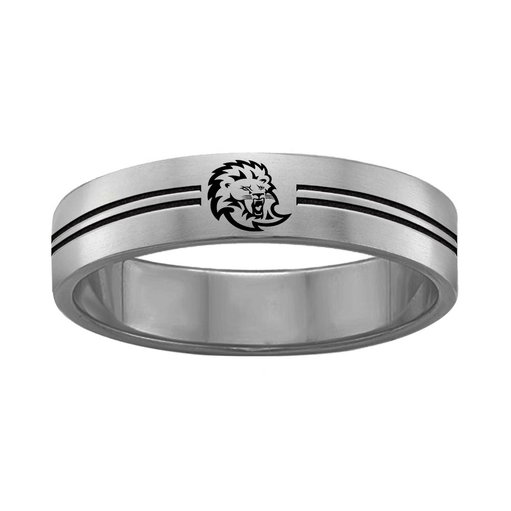 Southeastern Louisiana Lions College Rings Stainless Steel 8MM Wide Ring Band Double Line Style