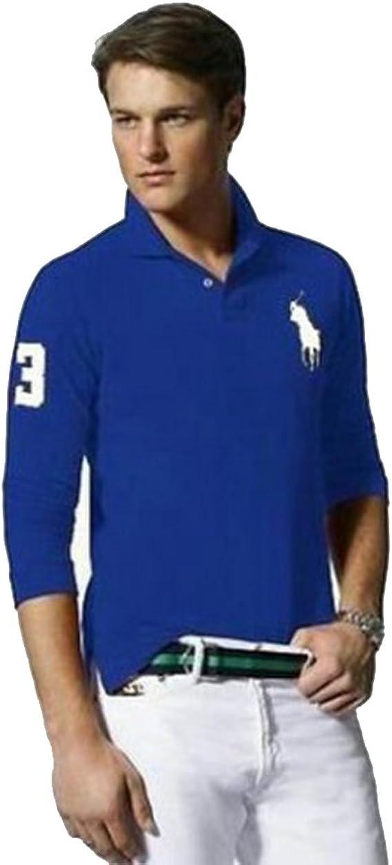 Ralph Lauren Polo de Manga Larga Big Pony Custom Fit (XL, Azul ...