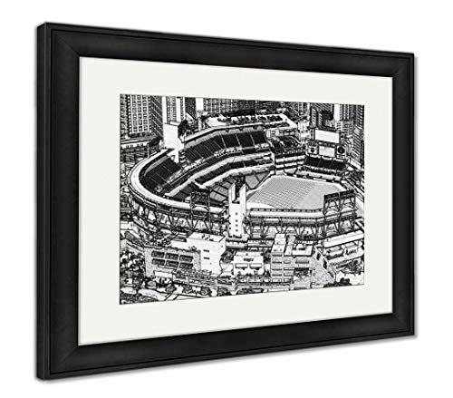 (Ashley Framed Prints Petco Park Line Drawing, Wall Art Home Decoration, Black/White, 30x35 (Frame Size), Black Frame, AG5597380)