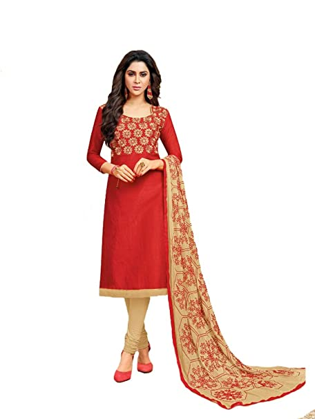 291e004352 Shree Ganesh Retail Womens Banarasi Silk Choli Work Churidar Material | Salwar  Suit | Salwar Kameez Unstitched Salwar Suit Material (904 RED & BEIGE): ...