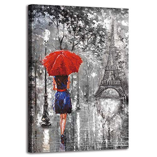 (BYXART 1 Pieces Red Umbrella Fashion Woman Painting Canvas Framed Art Wall Decor Romantic Paris Street Prints On Canvas Ready to Hang for Living Room Bathroom Bedroom Decorations 24x36in)