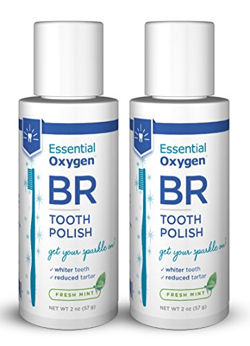Essential Oxygen Mint Tooth Polish, 2 Count, Teeth whitening Peppermint Flavor, Removes Tartar, All Natural, Charcoal Free -