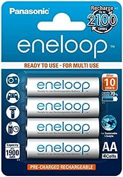 Eneloop BK-3MCCE/4BE - Pila Recargable, AA 1900 mAh, 4 Unidades: Amazon.es: Electrónica