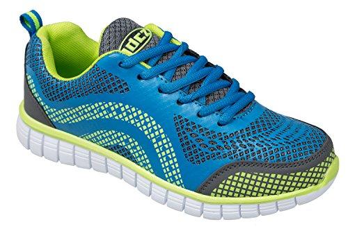 gibra - Zapatillas para deportes de interior de sintético/textil para mujer Azul - blau/neongrün/grau