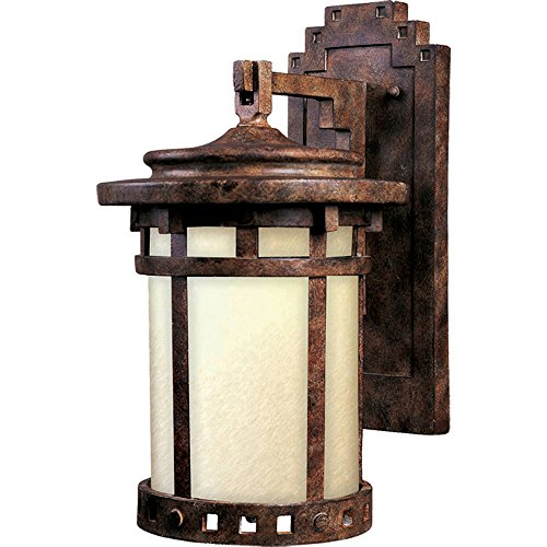 - Maxim 3143MOSE Santa Barbara Dark Sky 1-LT Outdoor Wall Lantern, Sienna Finish, Mocha Glass, MB Incandescent Incandescent Bulb , 60W Max., Dry Safety Rating, 2700K Color Temp, Standard Dimmable, Glass Shade Material, 14112 Rated Lumens