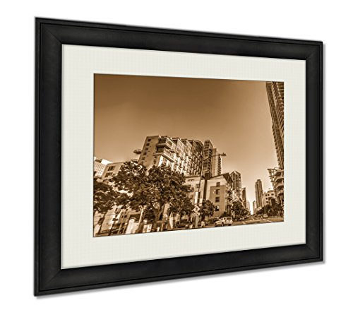 Ashley Framed Prints Skyscrapers In Downtown San Diego California USA, Wall Art Home Decoration, Sepia, 34x40 (frame size), - San Downtown Stores Diego