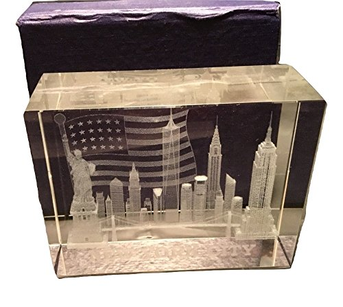 3D Laser Etched New York City with American Flag Glass Crystal Paperweight, NYC Souvenirs ()