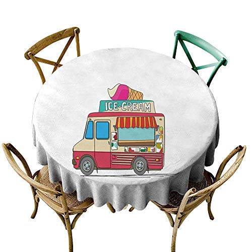 (cobeDecor Truck Fabric Dust-Proof Table Cover Ice Cream Truck Colorful Illustration Business Idea Cartoon Style Cutaway Vehicle D54 Multicolor)