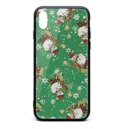 Hiunisyue iPhone Xs Max Case Merry Christmas Jolly Santas-01 9H Tempered Glass Back Cover Soft TPU Frame Scratch Resistant Shock Absorption Cover Case Compatible for iPhone Xs Max