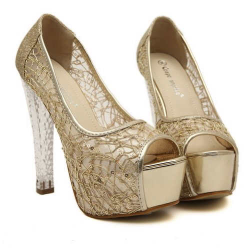 with Peep Womens Solid Blend Sequin Gold Toe Sandals Materials High AmoonyFashion Heel z5wTUHq1Ux