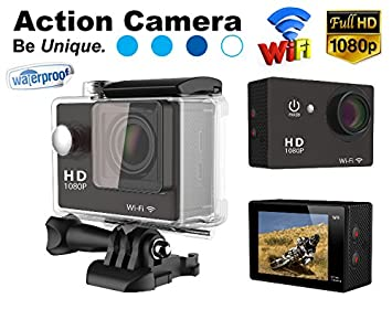 Gadget Hero's 12MP HD 1080P Sport Action Waterproof Wifi Camera With 2 Inch LCD CMOS Sensor With Multiple Accessories. Black Color. Compatible with Go