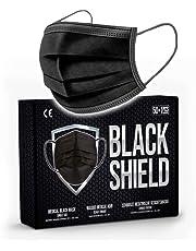 BLACK SHIELD - WEGWERP ANTIBACTERIEEL MEDISCH GEZICHTSMASKER - MONDMASKER - 50 STUKS ZWART