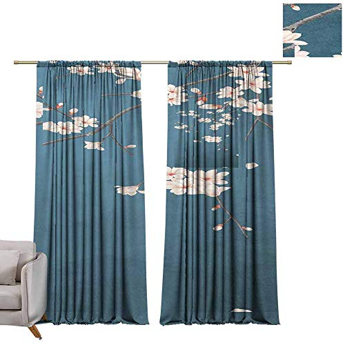 Pocket Thermal Insulated Tie Up Curtains Beauty Blue Plum Blossoms on a Beige Background. W72 x L108 Shades Window Treatment Valances Curtains