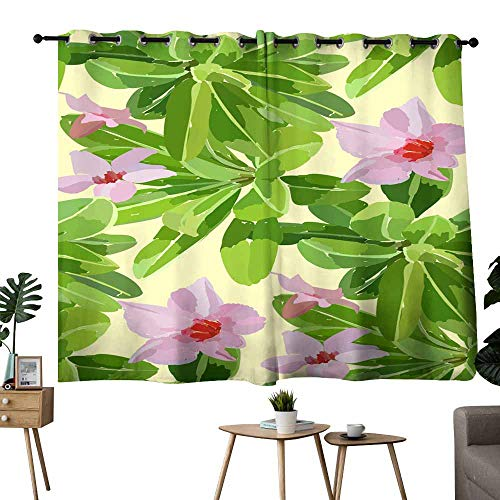 Sliding Curtains Floral seamless pattern with hibiscus flowers and leaves Botanical illustration hand painted Textile print fabric swatch wrapping paper for Living, Dining, Bedroom (Pair) 63