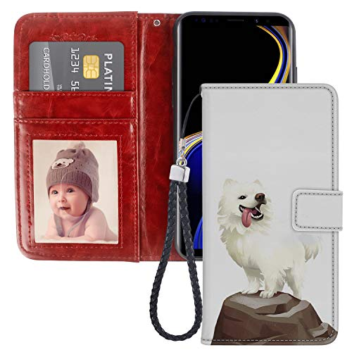 Samoyed Dog Samsung Galaxy Note 9 Wallet Phone Case JQLOVE Samsung Series PU Leather Flip Multi Card Slot with Stand Holder Wallet Case for Samsung Galaxy Note 9 Samoyed Dog ()