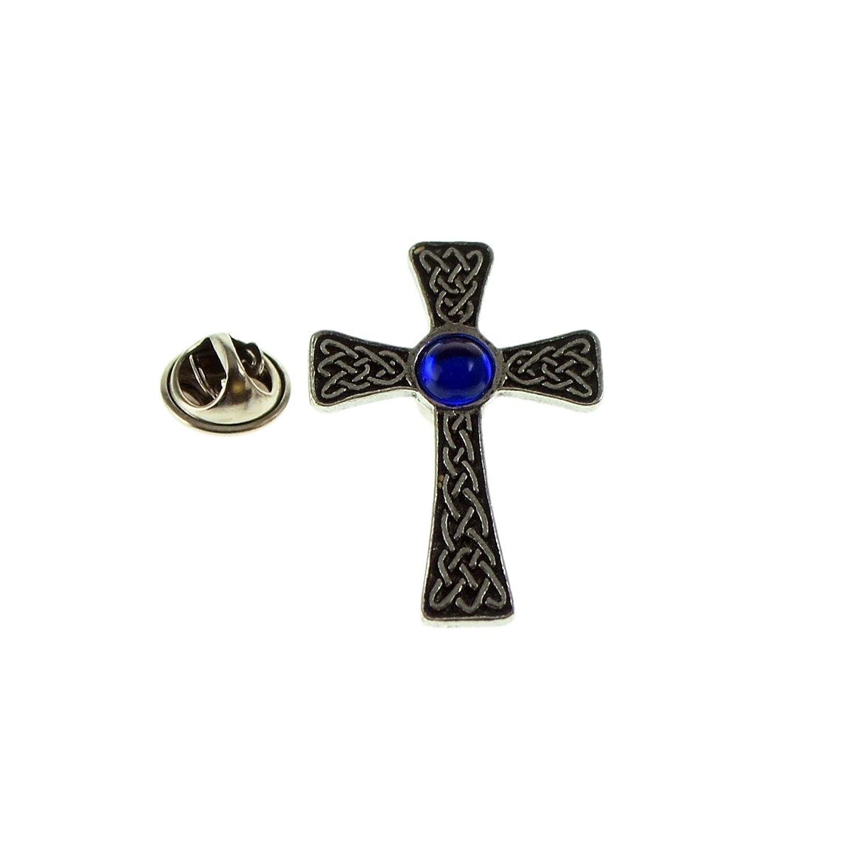 Blue Celtic Gem Cross Pewter Lapel Pin Badge