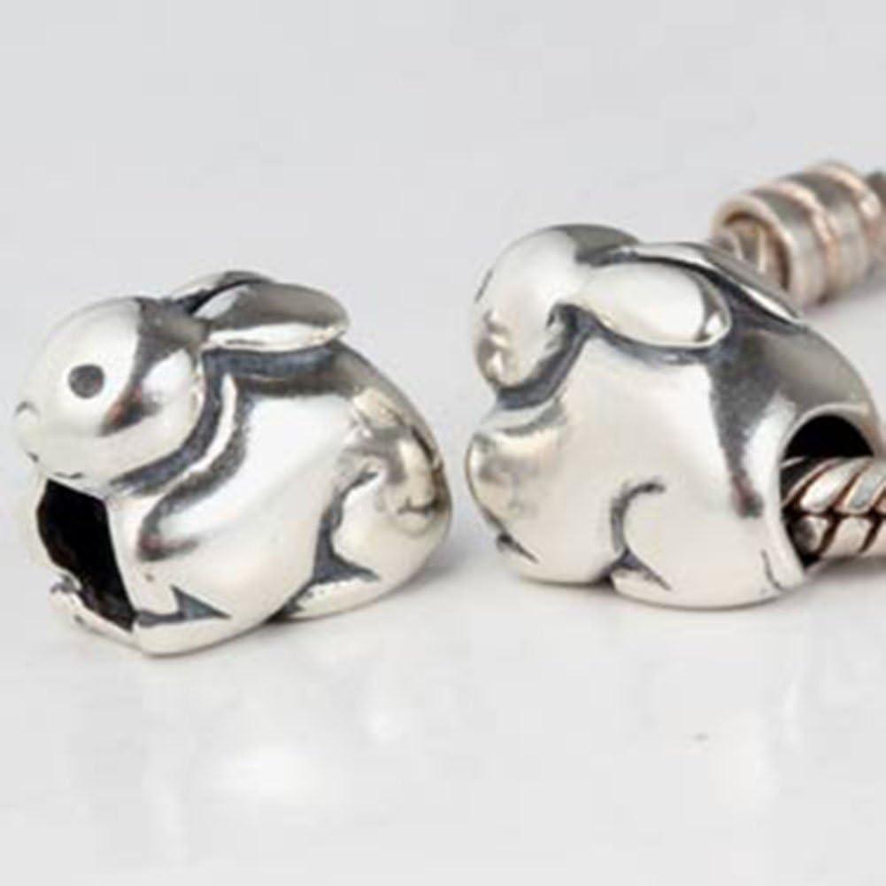 Lucky Lapin Charm argent sterling 925/Animal anniversaire charmes de No/ël Charm pour bracelet /à breloques Pandor Chick