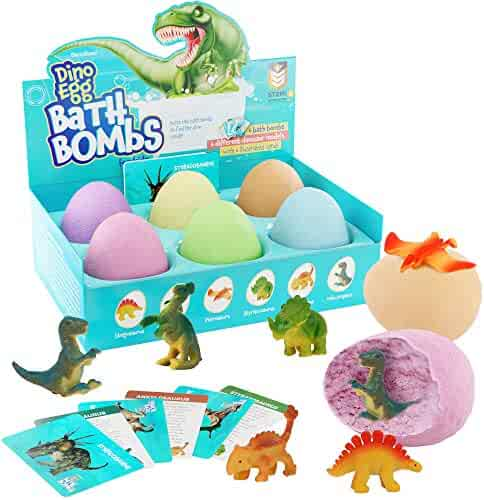 Dino Egg Bath Bombs with Surprise Inside for Kids - Dinosaur in Each Fizzy - 6 Fizzies - Includes Learning Cards - Kids Bath Bombs with Toys Inside - Kid Fizzies - Great Science Gifts for Girls & Boys