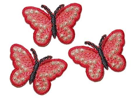 NEU+ Aufnäher Applikation Patch+Schmetterling rot +Aufbügler Bügelmotiv