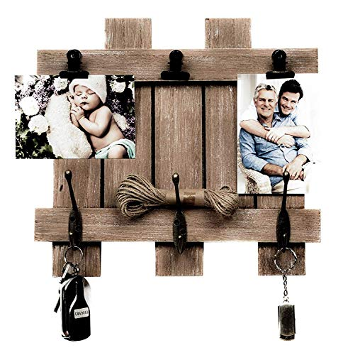 Picture Key - Space Art Deco Rustic Clip Frame - Fits 4x6 Photos - Three Metal Clips - Three Coat Hooks - Fence/Pallet Design - D-Ring Hangers - Wall Mount - Country Style Charm - Brown Color