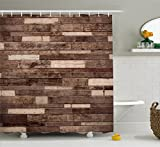 Ambesonne Wooden Shower Curtain Set, Wall Floor Textured Planks Panels Picture Art Print Grain Cottage Lodge Hardwood Pattern, Fabric Bathroom Decor with Hooks, 75 Inches Long, Brown