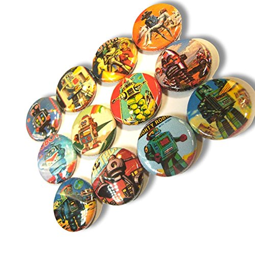 """Pinback Button Vintage - Custom & Novelty {1"""" Inch} 12 Bulk Pack, Mid-Size Button Pin-Back Badges for Unique Clothing Accents, Made of Rust-Proof Metal w/ Vintage Robots"""