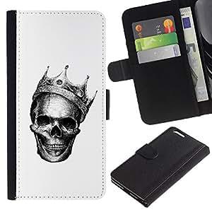 KingStore / Leather Etui en cuir / Apple Iphone 6 PLUS 5.5 / Rey Muerto Blanca Corona Death Metal