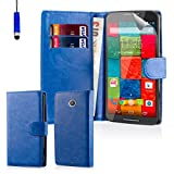 32nd® Book wallet PU leather case cover for Motorola Moto X Play (2015 edition) + screen protector, cleaning cloth and touch stylus - Deep Blue